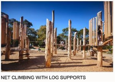 Net climbing with log supports