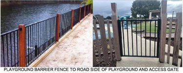 Playground barrier fence and gate