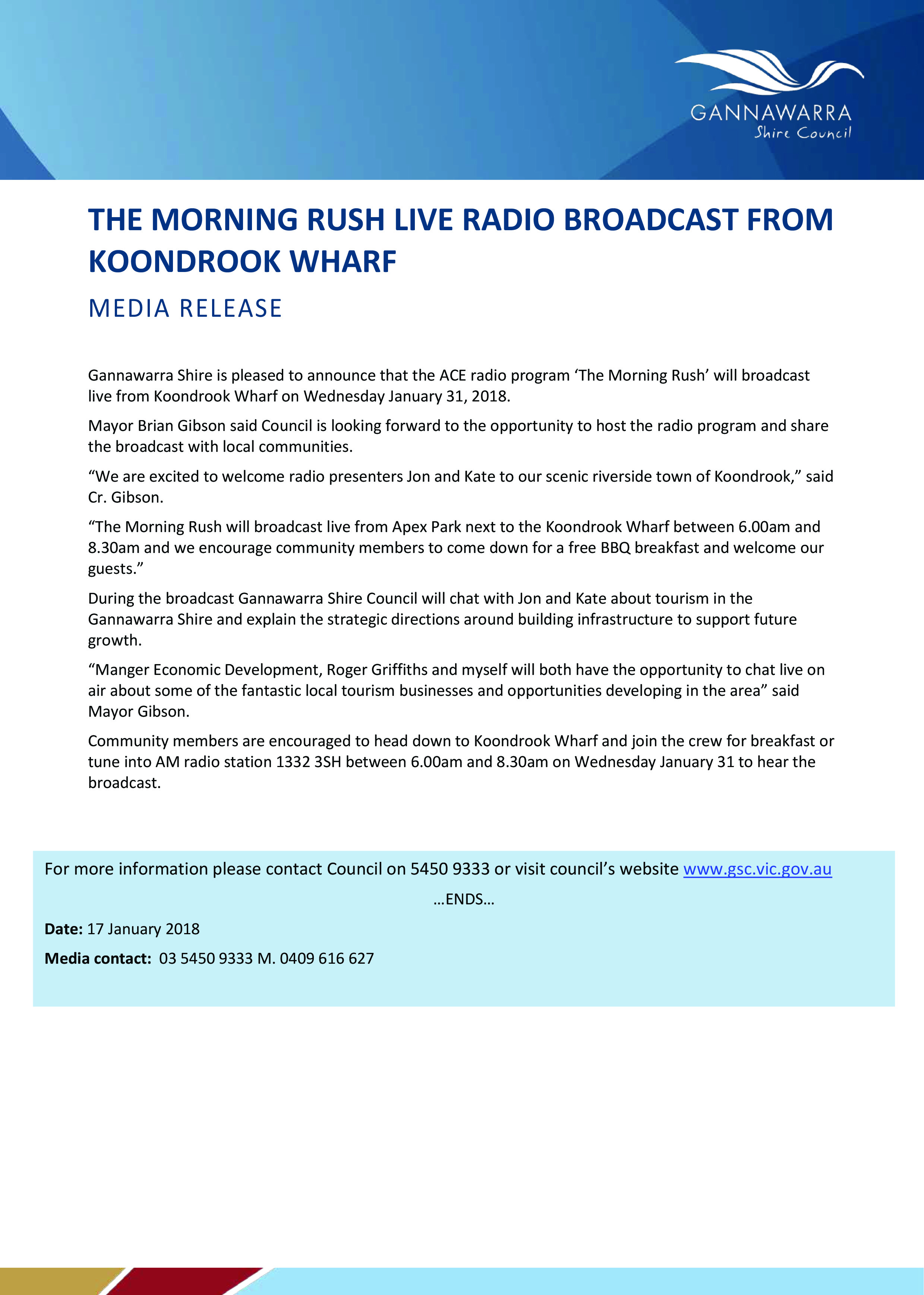 The Morning Rush Live Radio Broadcast From Koondrook Wharf