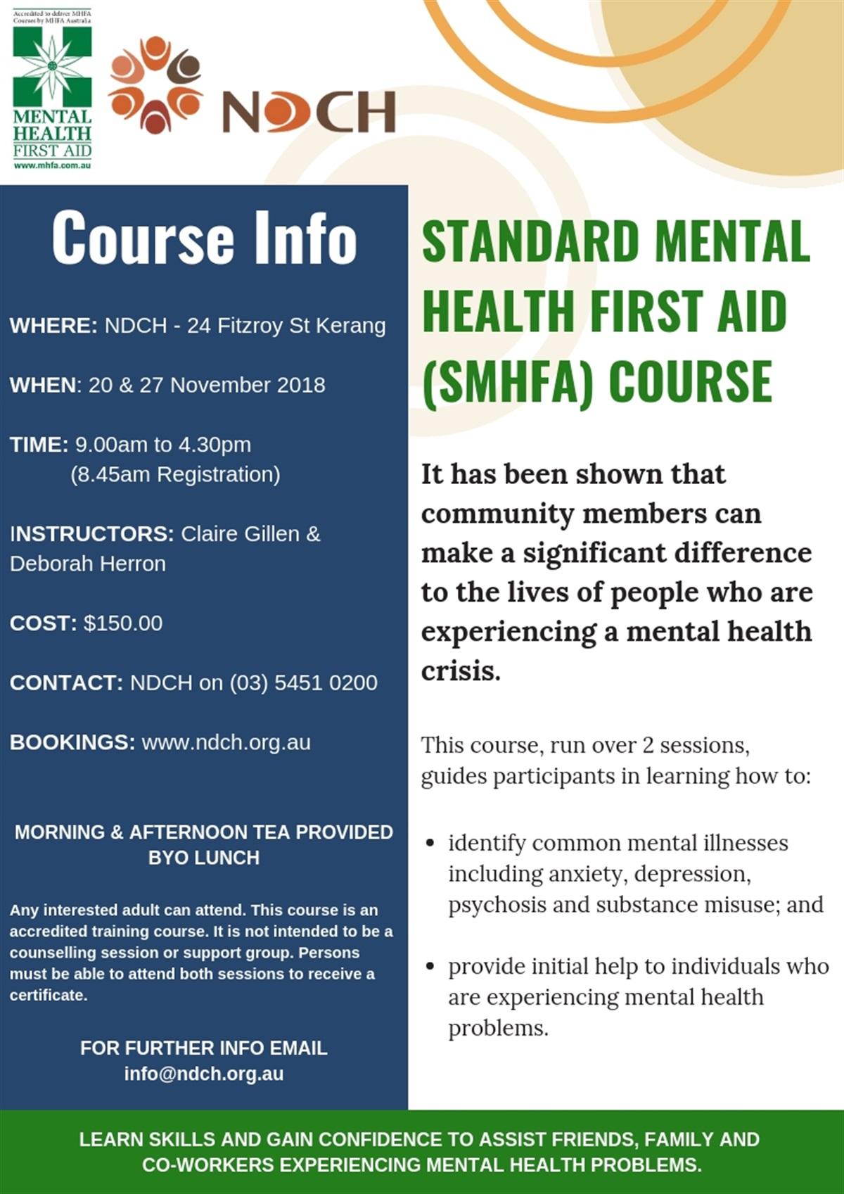 Standard Mental Health First Aid (SMHFA) Course ...
